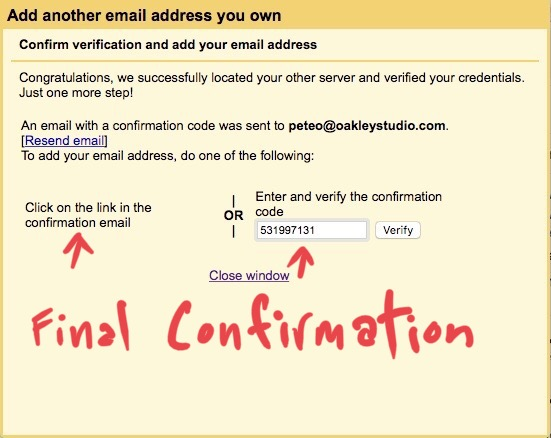 Gmail settings - Confirm new email account