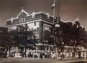 Old Albuquerque High Administration Building, from a photo at The Standard Diner