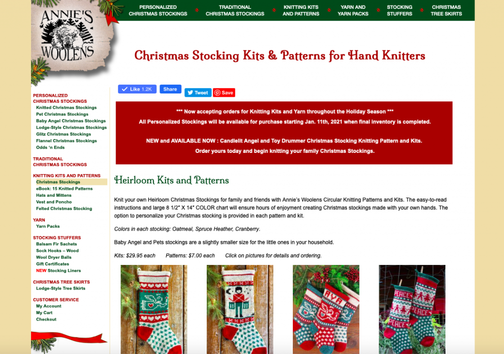 Annie's Woolens Christmas Stocking Knitting Kits and Patterns